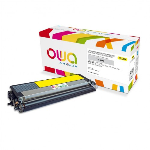 Cartouche Laser OWA remanufacturée compatible BROTHER TN-328Y - Jaune - 6000p