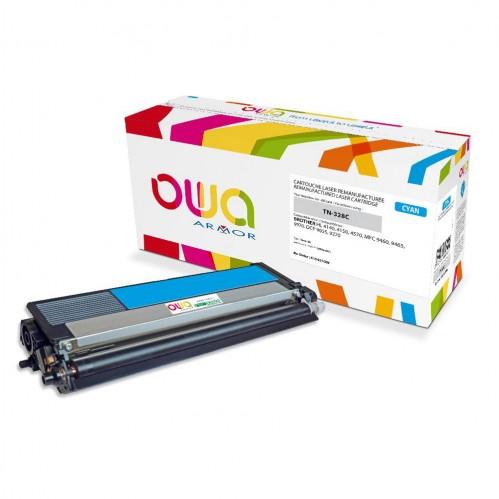 Cartouche Laser OWA remanufacturée compatible BROTHER TN-328C - Cyan - 6000p