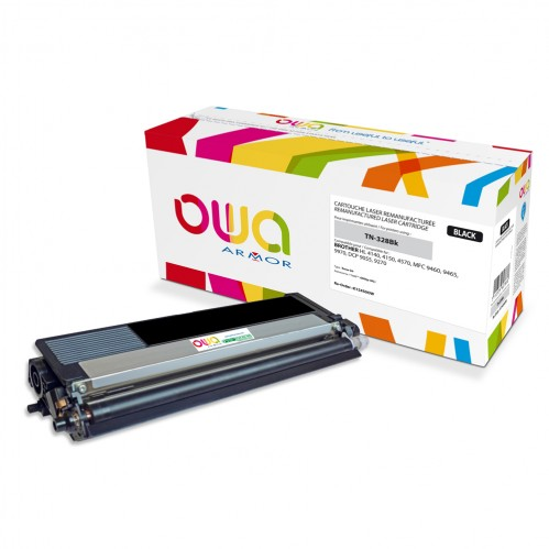 Cartouche Laser OWA remanufacturée compatible BROTHER TN-328Bk - Noir - 6000p