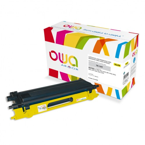Cartouche Laser OWA remanufacturée compatible BROTHER TN-135Y - Jaune - 4000p