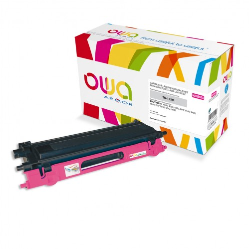 Cartouche Laser OWA remanufacturée compatible BROTHER TN-135M - Magenta - 4000p