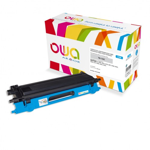 Cartouche Laser OWA remanufacturée compatible BROTHER TN-135C - Cyan - 4000p