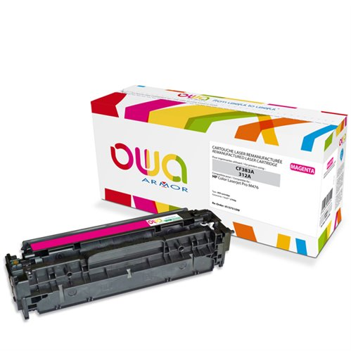 Cartouche Laser OWA remanufacturée pour HP CF383A - Magenta - 2700p