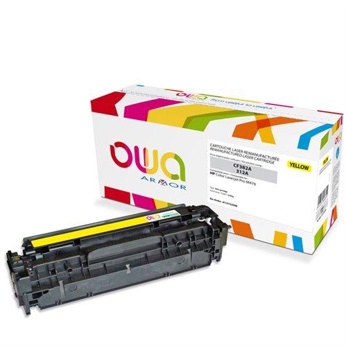 Cartouche Laser OWA remanufacturée pour HP CF382A - Jaune - 2700p
