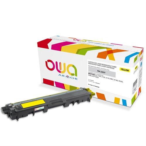 Cartouche Laser OWA remanufacturée pour BROTHER TN-245Y - Jaune - 2200p HC