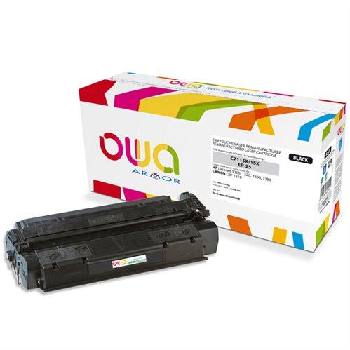 Cartouche Laser OWA remanufacturée pour HP C7115X - Noir - 3500p HC