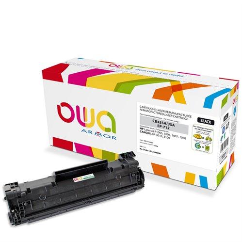 Cartouche Laser OWA remanufacturée pour HP CB435A - Noir - 1500p