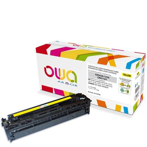 Cartouche Laser OWA remanufacturée pour HP CB542A - Jaune - 1400p