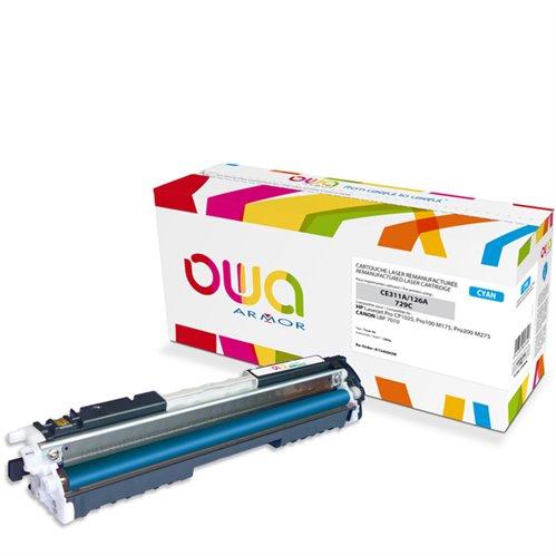 Cartouche Laser OWA remanufacturée pour HP CE311A - Cyan - 1000p