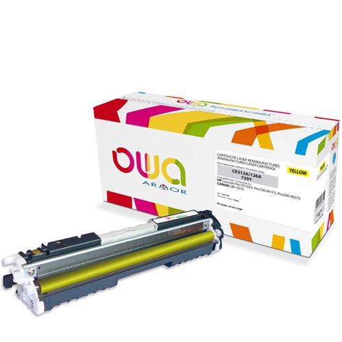 Cartouche Laser OWA remanufacturée pour HP CE312A - Jaune - 1000p