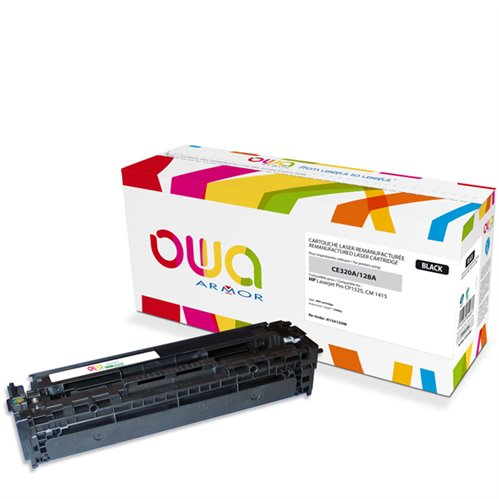Cartouche Laser OWA remanufacturée pour HP CE320A - Noir - 2000p