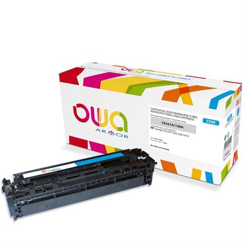Cartouche Laser OWA remanufacturée pour HP CE321A - Cyan - 1300p