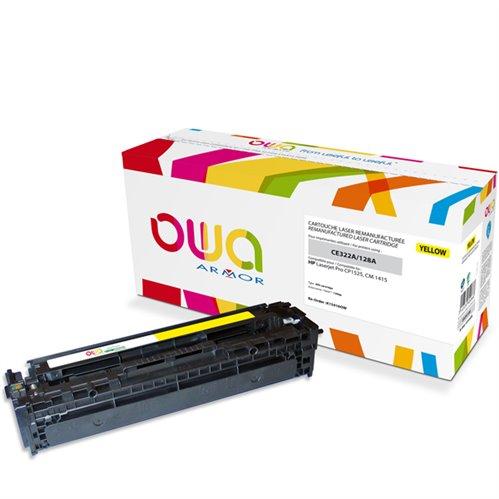 Cartouche Laser OWA remanufacturée pour HP CE322A - Jaune - 1300p