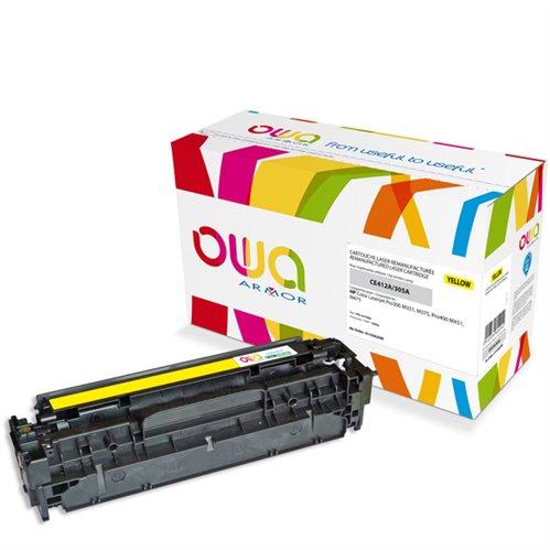 Cartouche Laser OWA remanufacturée pour HP CE412A - Jaune - 2600p