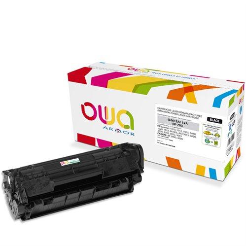Cartouche Laser OWA remanufacturée pour HP Q2612A - Noir - 2000p