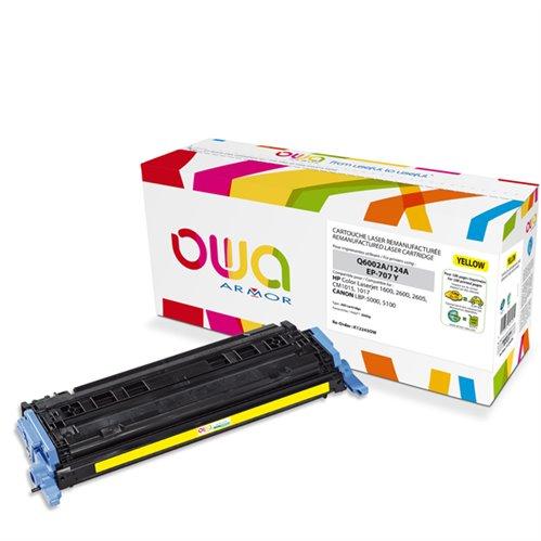 Cartouche Laser OWA remanufacturée pour HP Q6002A - Jaune - 2000p