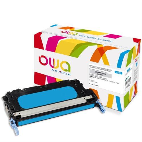 Cartouche Laser OWA remanufacturée pour HP Q7581A - Cyan - 6000p