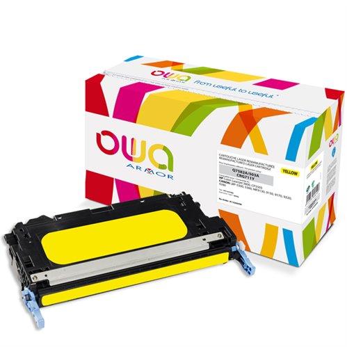 Cartouche Laser OWA remanufacturée pour HP Q7582A - Jaune - 6000p