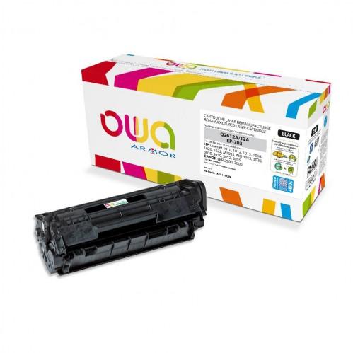 Cartouche Laser OWA remanufacturée compatible HP Q2612A - Noir - 4000p