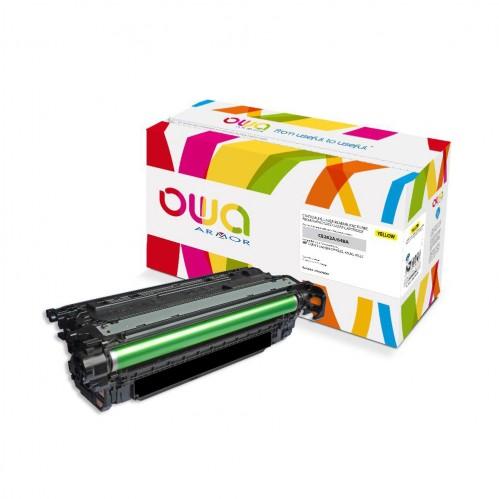 Cartouche Laser OWA remanufacturée compatible HP CE262A - Jaune - 11000p
