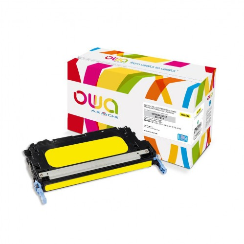 Cartouche Laser OWA remanufacturée compatible HP Q7582A - Jaune - 8000p