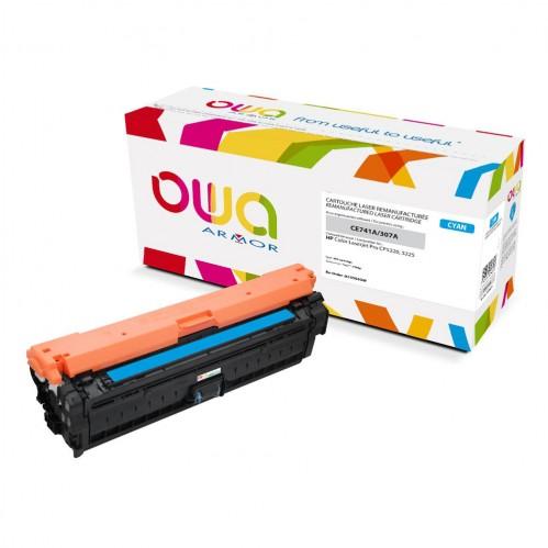 Cartouche Laser OWA remanufacturée compatible HP CE741A - Cyan - 7300p