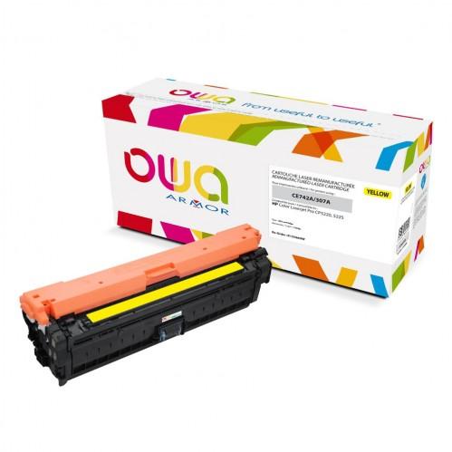 Cartouche Laser OWA remanufacturée compatible HP CE742A - Jaune - 7300p