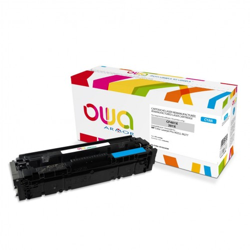 Cartouche Laser OWA remanufacturée compatible HP CF401X - Cyan - 2300p