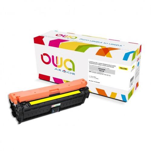 Cartouche Laser OWA remanufacturée compatible HP CE342A - Jaune - 16000p