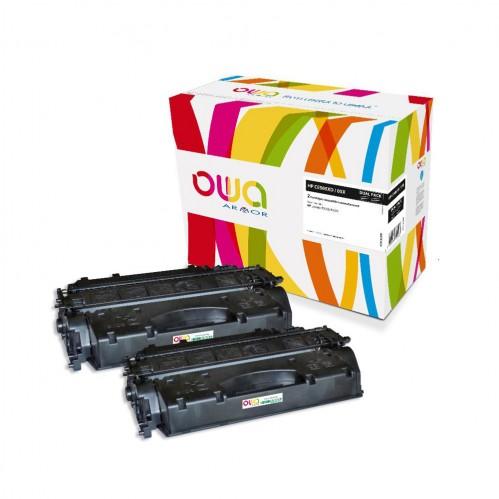 Cartouche Laser OWA remanufacturée compatible HP CE505X - Noir - 2 x 6500p
