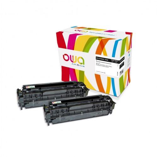 Cartouche Laser OWA remanufacturée compatible HP CC530A - Noir - 2 x 3500p