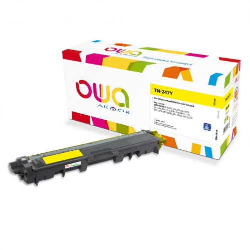 Cartouche Laser OWA remanufacturée compatible BROTHER TN-247Y - Jaune - 2300p