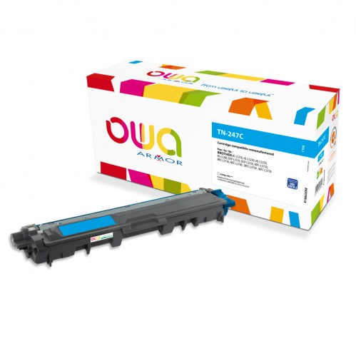 Cartouche Laser OWA remanufacturée compatible BROTHER TN-247C - Cyan - 2300p