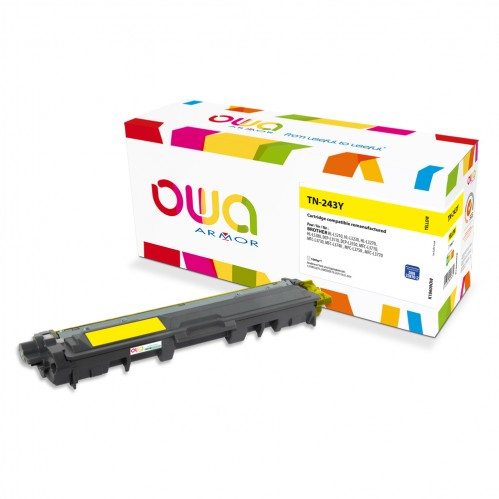 Cartouche Laser OWA remanufacturée compatible BROTHER TN-243Y - Jaune - 1000p