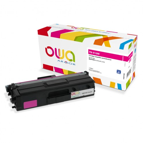 Cartouche Laser OWA remanufacturée compatible BROTHER TN-910M - Magenta - 9000p
