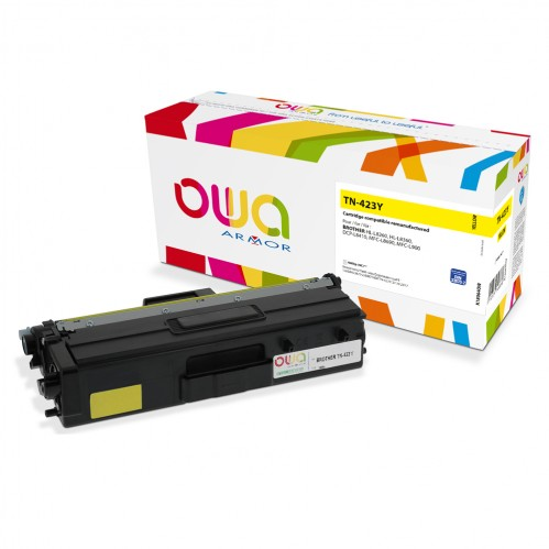 Cartouche Laser OWA remanufacturée compatible BROTHER TN-423Y - Jaune - 4000p