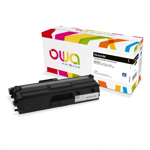 Remanufactured OWA laser cartridge compatible with BROTHER TN-421BK - Black - 3000p