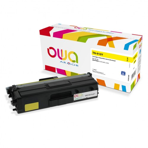 Cartouche Laser OWA remanufacturée compatible BROTHER TN-910Y - Jaune - 9000p