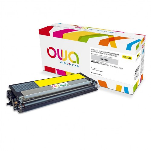 Cartouche Laser OWA remanufacturée compatible BROTHER TN-329Y - Jaune - 6000p