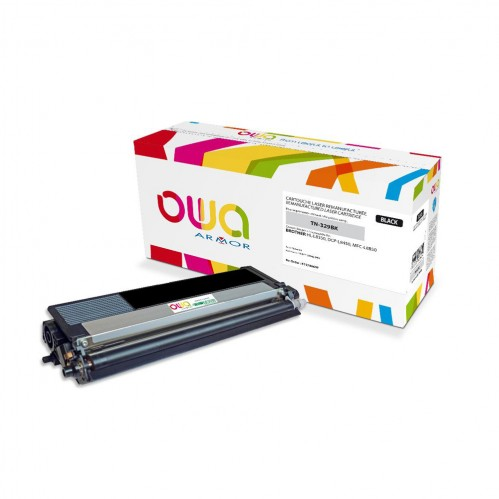 Cartouche Laser OWA remanufacturée compatible BROTHER TN-329BK - Noir - 6000p